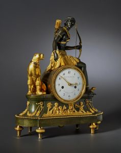 A spectacular French clock by a well-known French maker with ormolu mounts and an eight-day movement striking on a bell